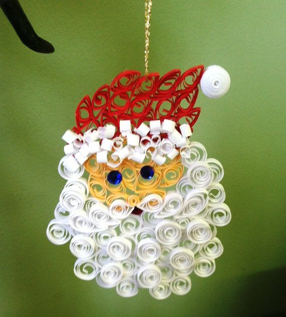 Santa Claus Quilled Christmas Ornament  Holiday by ThoreauFair, $6.00