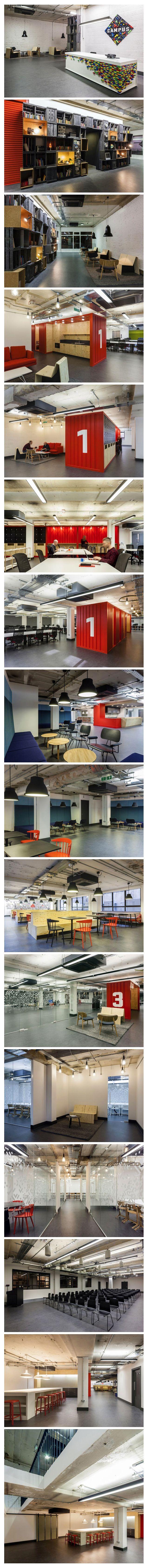 구글 런던 캠퍼스 (Google Campus in London) 사무실 인테리어 디자인   Google Campus in London Featuring Socializing Spaces and Informal Areas  런던에 위치한 구글 사무실 입니다. 구글은 사무실을 캠퍼스라고 부르고 있습니다. 건축가 숀 페르난데스(Shaun Fernandes)와 점프 스튜디오의 마르쿠스 논(Markus Nonn)이 협업을 해서 구글 런던 캠퍼스의 인테리어를 디자인 했습니다..    런던구글 캠퍼스의 디자인의 중점은 지하와 지상을 연결하는데 두었으며 7가지 다른 작업공간과 이벤트 공간을 마련했다고 합니다.  구글스럽게(?) 장난스러움과 자유로움이 뒤엉켜 있는 구글 런던 캠퍼스는 비밀 회의장소 및 극장, 카페, 워크샵공간등을 재구성 되어 있습니다.