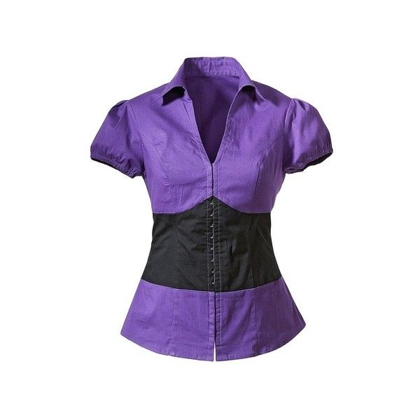 Corset waist blouse ($31) ❤ liked on Polyvore featuring tops, blouses, purple top, v neck tops, smocked top, v neck blouse and corset blouse