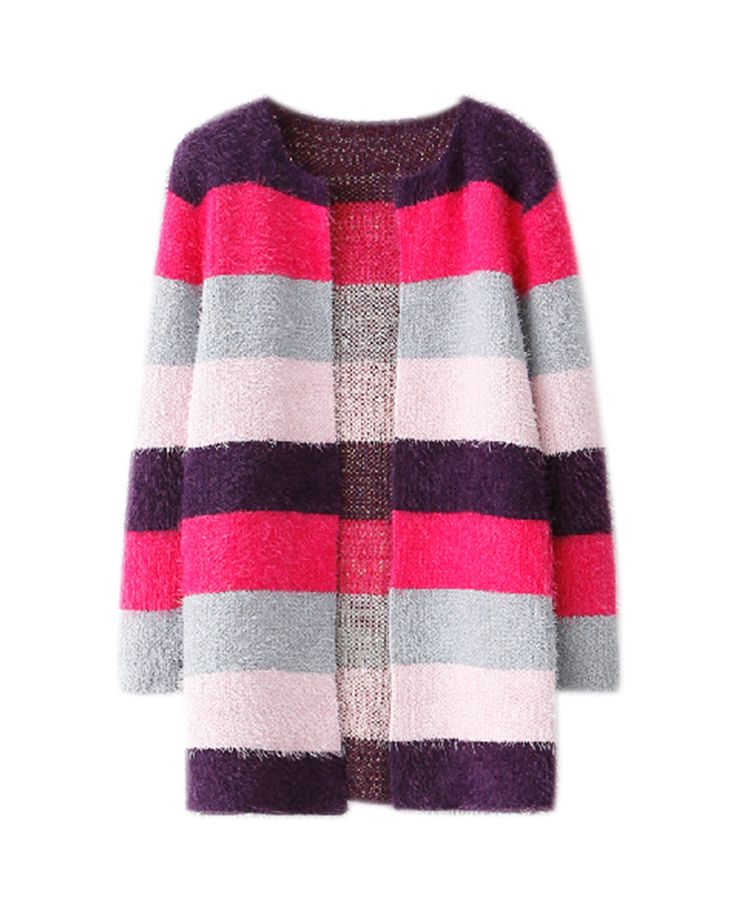 Rainbow Stripes Md-long Mohair Cardigan | BlackFive