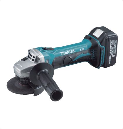 Makita BGA402RFE Cordless Angle Grinder     Capable of using wheels / discs for AC grinders.     Easy-to-grip, small circumference motor housing.     Rubberized soft grip for enhanced hand comfort.     Electronic current limiter for overloaded protection (with warning lamp).     Anti-restart function : Not start up if battery is inserted with sliding switch to ON. For More Details: http://www.mrthomas.in/makita-bga402rfe-cordless-angle-grinder_16