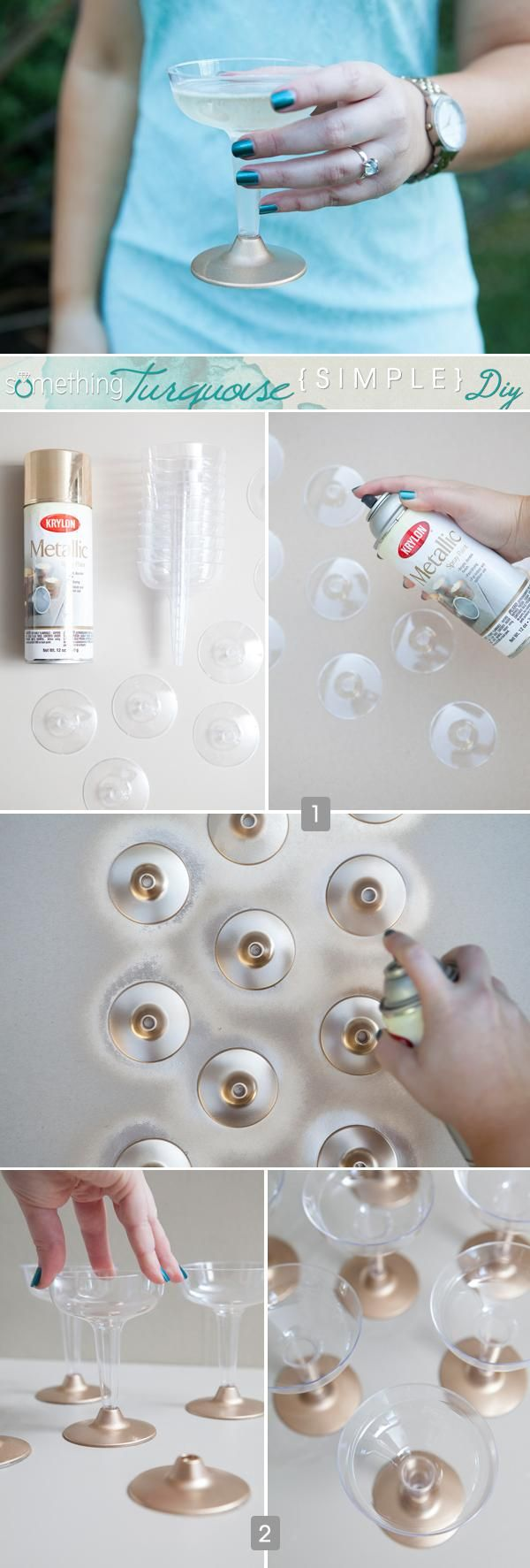DIY Home Decor DIY Simple painted plastic champagne cups