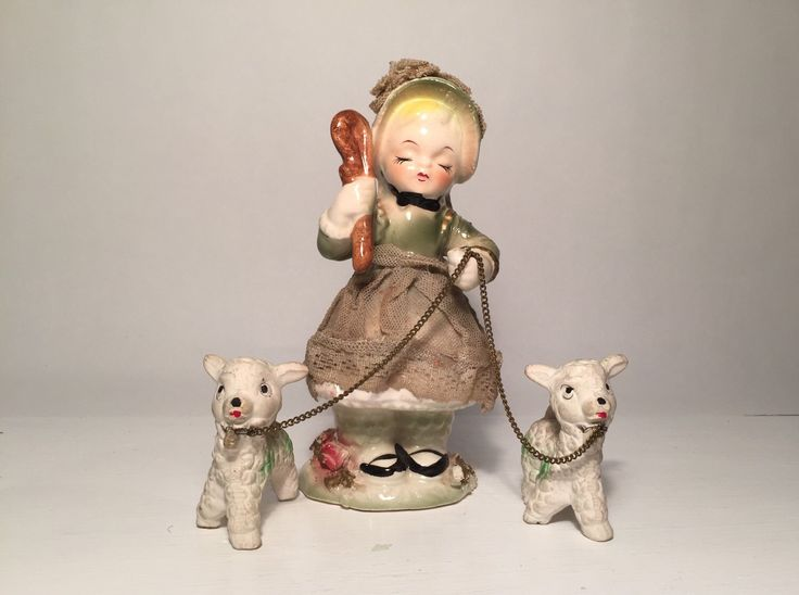 1950s Little Bo-Peep Ceramic Figurine With Two Sheep / Lamb - Vintage Kitsch by BooVintageAU on Etsy https://www.etsy.com/au/listing/278447762/1950s-little-bo-peep-ceramic-figurine