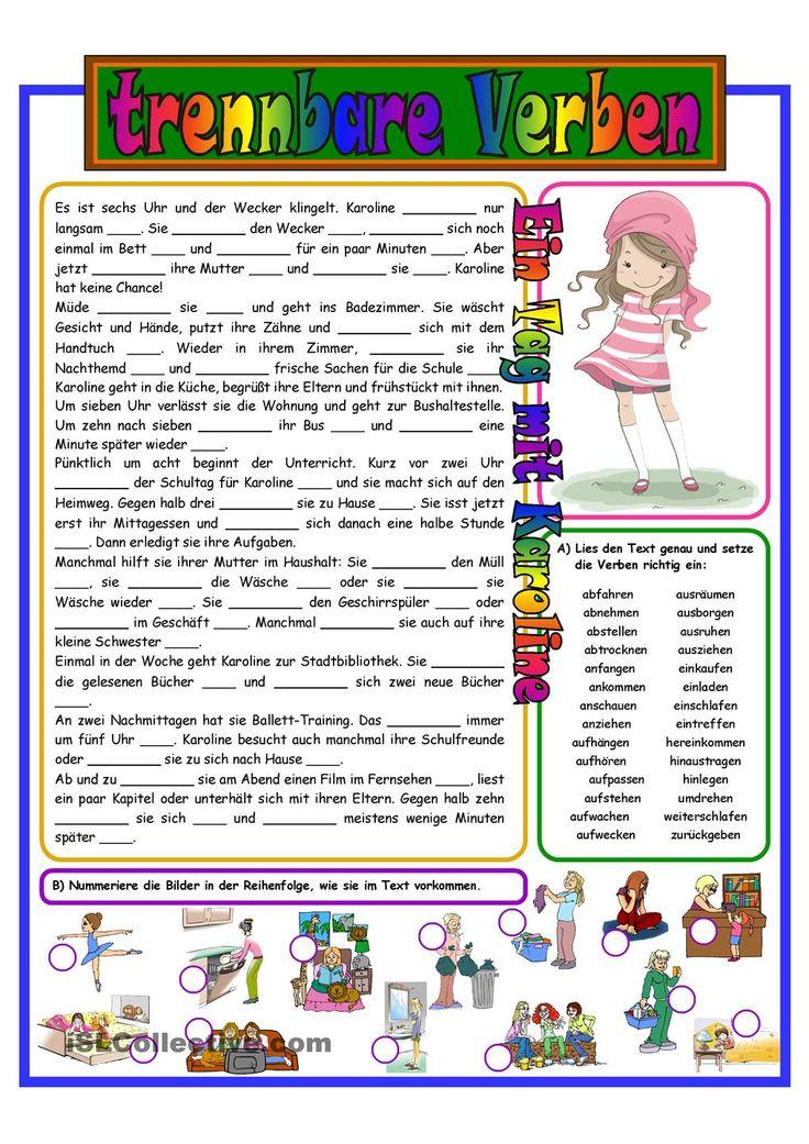 Trennbare Verben_Lückentext&Bilder_Übung 3b