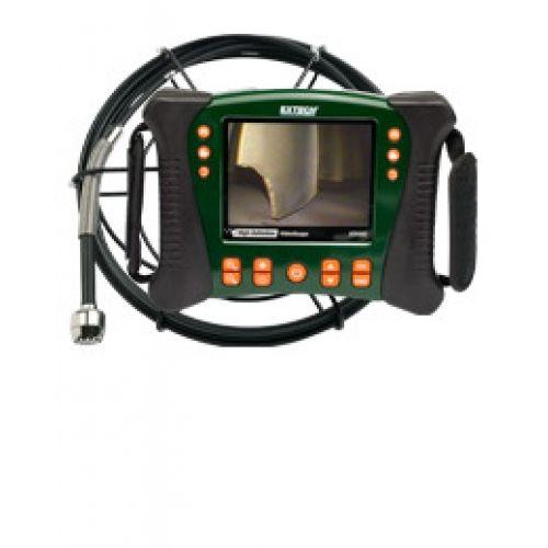 """http://termometer.dk/inspektionskamera-r12842/hd-videoskop-vvs-kit-med-30m-probe-53-HDV650-30G-r34645  HD videoskop VVS Kit med 30m Probe  Inkluderer fleksibel glasfiber kerne, 30m vandtæt kamera sonde (spole samling)  25mm kamera hoved (60 ° FOV, lang dybdeskarphed) med indbygget lys 12 lysdioder til belysning af de problematiske områder  5,7 """"farve LCD TFT med high definition 640 x 480 VGA-pixel opløsning  Robust olie / kemikalie resistent og vand / slip bevis hus (IP67)..."""