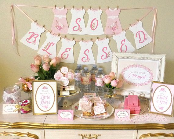 Baby Blessing Party, Christening Party, Religious Baby Girl Shower Printable Set - Decorations, Banner, Centerpieces, Cupcake Toppers, Favor Tags, Food Labels and More - Designed by Maria on Etsy