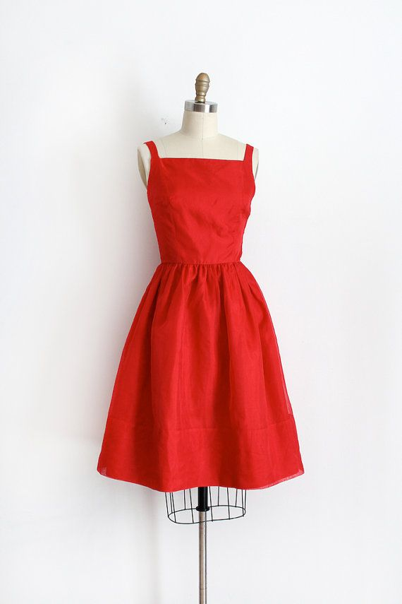 vintage 1960s dress // 60s red silk party dress by TrunkofDresses