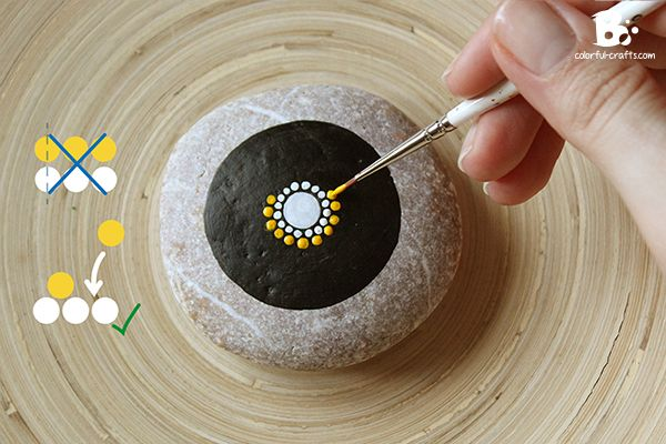 Dot Painting Tools | Use a bright yellow for the next row. The dots should be placed ...