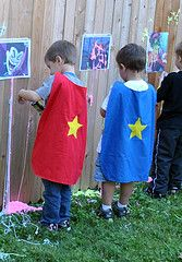 cute super hero games .... silly string is one dollar at the Dollar STore