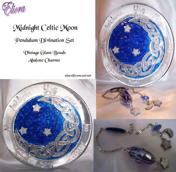 Midnight Celtic Moon Pendulum Divination Set by Eliora