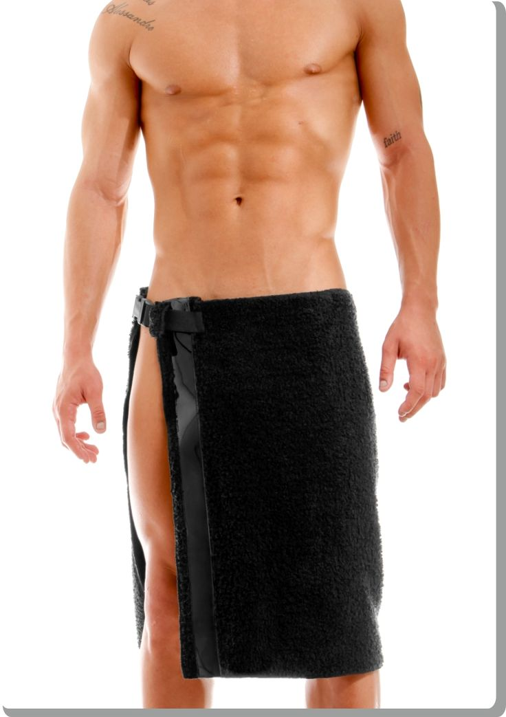 Black towel with quick-release side strap. Thick, luxurious toweling with a dashing vertical strip in black vinyl. Great gift idea!