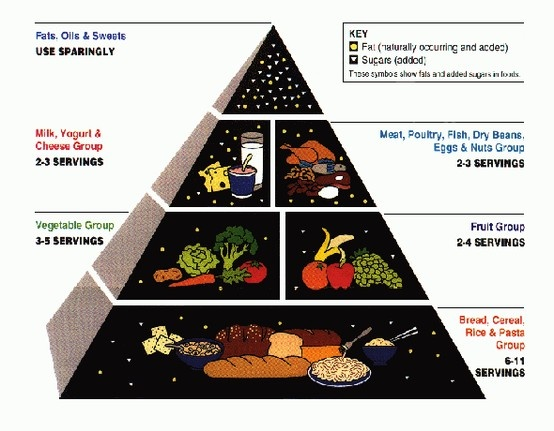 Both Canadian and Indian food pyramids are the same because they have fruits/vegetables as the second highest amount of food you need but Indians have more serving than us (9 vs 7). And grains is the most, but once again Indians have more(11 vs 7). Also they have the same amount of meats and dairy products and it is the third most you need (3 servings). The differences are Indians list sweets in their pyramid but they are the least amount same as Canadians need the least amount of sweets.
