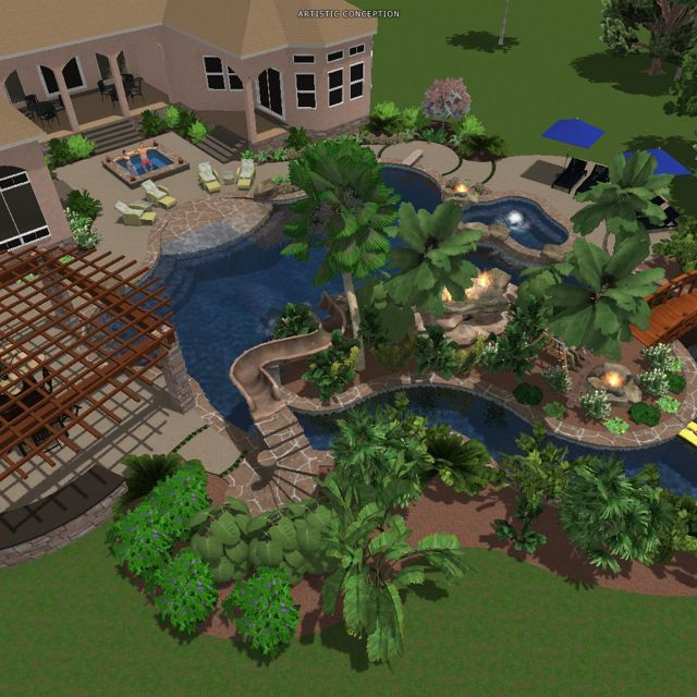 lazy river and pool too bad we dont have a big backyard. beautiful ideas. Home Design Ideas