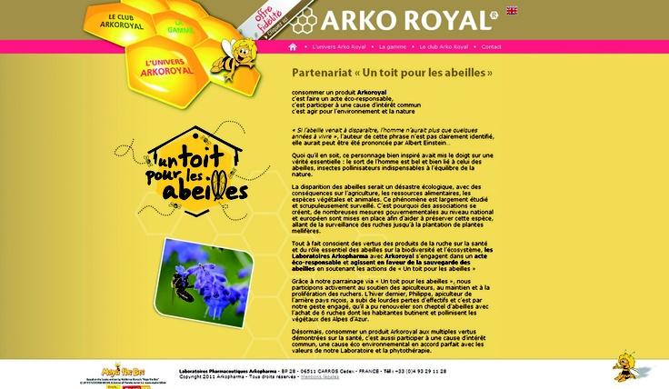 2011, Arkopharma s'engage dans le parrainage de plusieurs colonies d'abeilles installées en zone biologique dans le Parc du Mercantour.