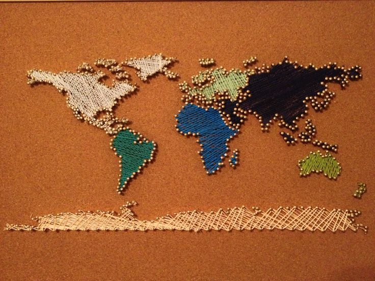 My world map string art diy crafts pinterest for Random diys