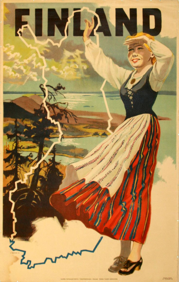 Finland vintage travel poster by O Vespalainen, 1948. Listed on AntikBar.co.uk