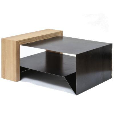 Table basse design bois massif et tôle dacier brut