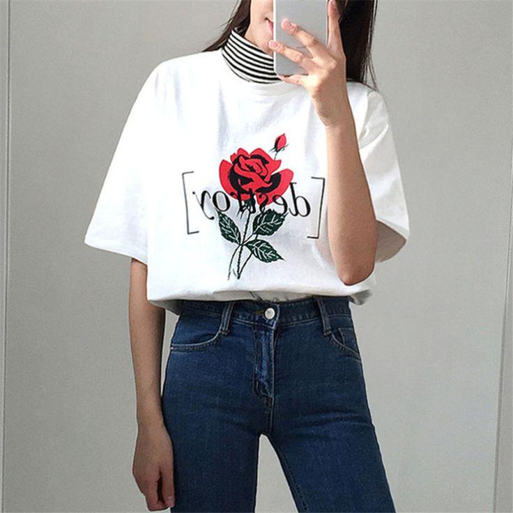 Zomer Koreaanse Vrouwen t shirt Vintage Rose Print Tees O hals Korte Mouw Shirts Blusa Casual Feminina Katoen Tops T Shirt 32810 in Zomer Koreaanse Vrouwen t-shirt Vintage Rose Print Tees O-hals Korte Mouw Shirts Blusa Casual Feminina Katoen Tops T-Shirt 32810 van T- shirts op AliExpress.com | Alibaba Groep