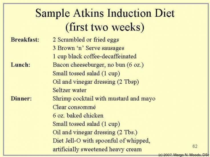 sample atkins induction diet  first two weeks  atkins