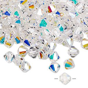Бусины, компании preciosa, чешский хрусталь, кристалл AB, 6 мм граненый конус. Продается в pkg из 24.