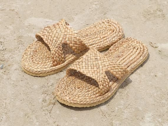 Vintage Indoor straw slipper house warming gift hotel welcome spa eco friendly