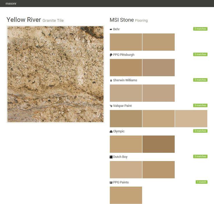 Golden River Granite Kitchen: Yellow River. Granite Tile. Flooring. MSI Stone. Behr. PPG