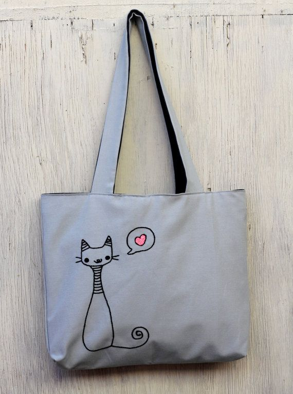 Grey bag - tote bag - love cat embroidery embroidered bag ...