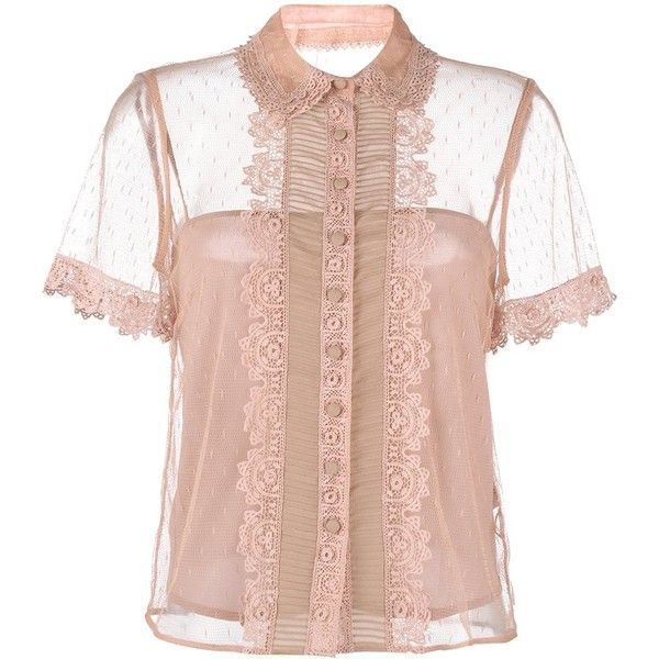 Red Valentino lace-trimmed tulle blouse ($675) ❤ liked on Polyvore featuring tops, blouses, pink top, lace trim top, nude blouses, lace trim blouse and red valentino top