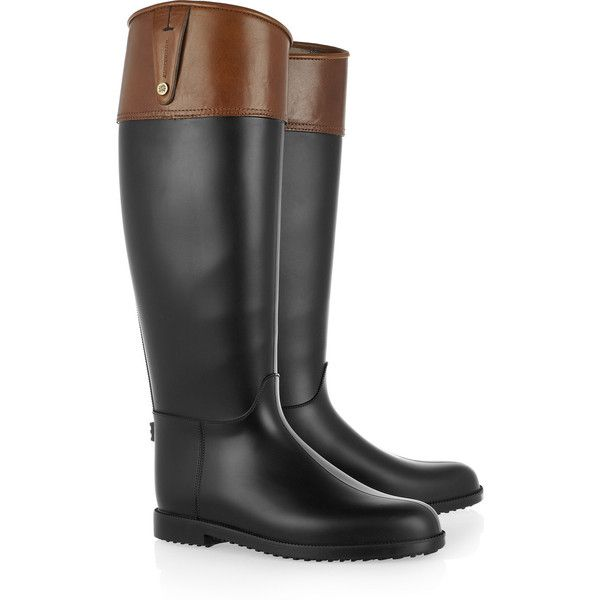 Burberry Shoes & Accessories Rubber Wellington boots (€145) ❤ liked on Polyvore featuring shoes, boots, botas, burberry, обувь, pull on boots, rubber rain boots, rubber slip on shoes, low heel boots and short heel boots