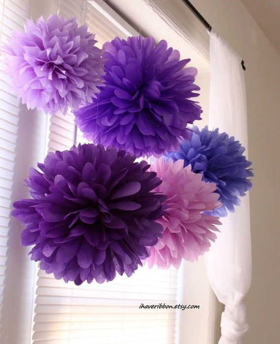 purple pom poms for Justin Bieber party