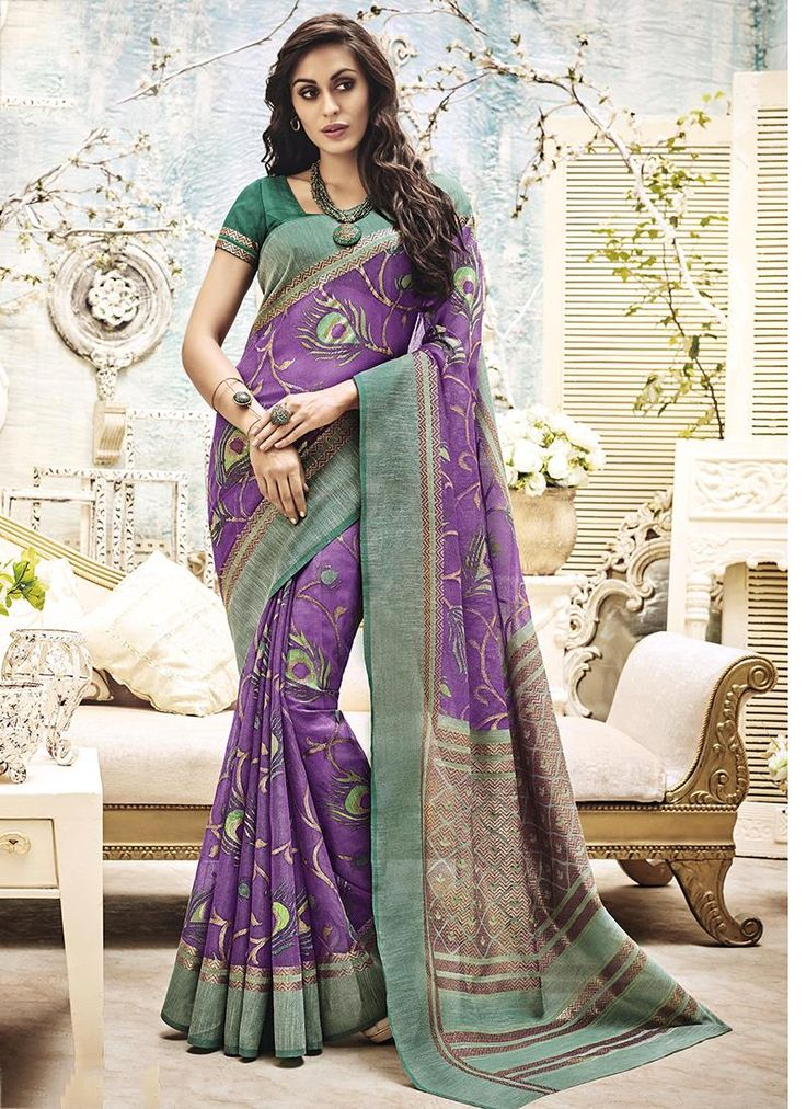 Online shop for latest indian sarees. Shop this invaluable purple printed saree.