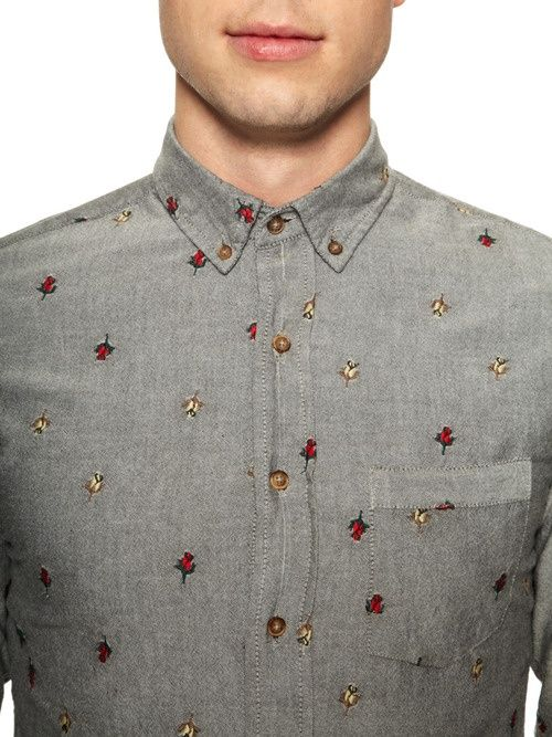 Floral aren't just for the ladies... try them an embroidered patterns on slim-cut tops.
