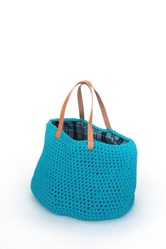 handmade  crochet recycled tshirt yarn bag by iCrochetByPaola, $120.00