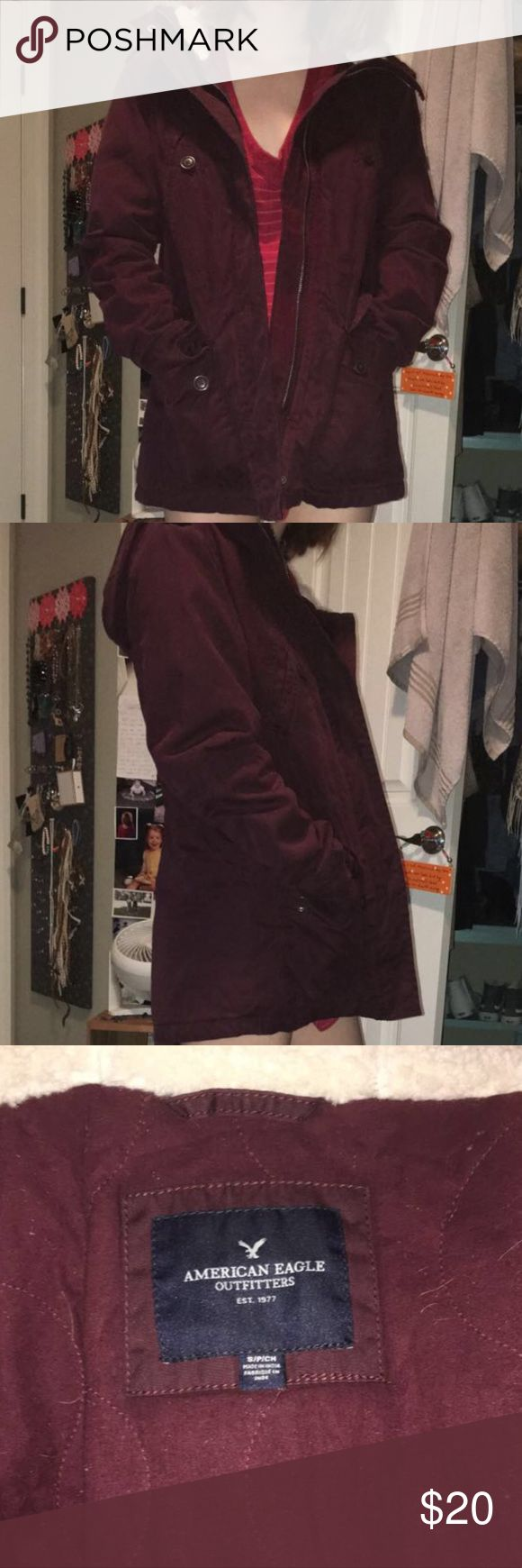 Dark red American Eagle jacket Wool on the inside. Jacket full of pockets aha! Made for winter/colder weather but still not insanely trap heating. American Eagle Outfitters Jackets & Coats