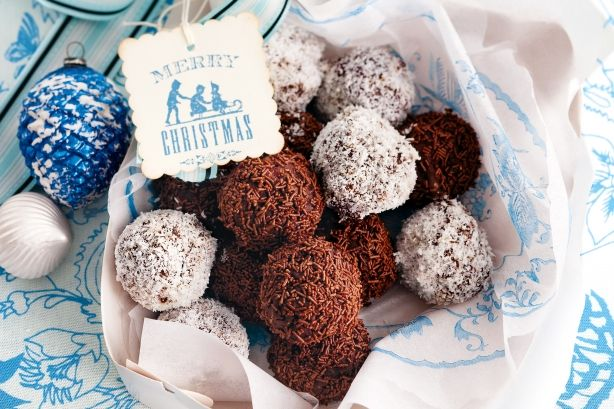 Get into the festive spirit with these chocolate and fruit cake rum balls.