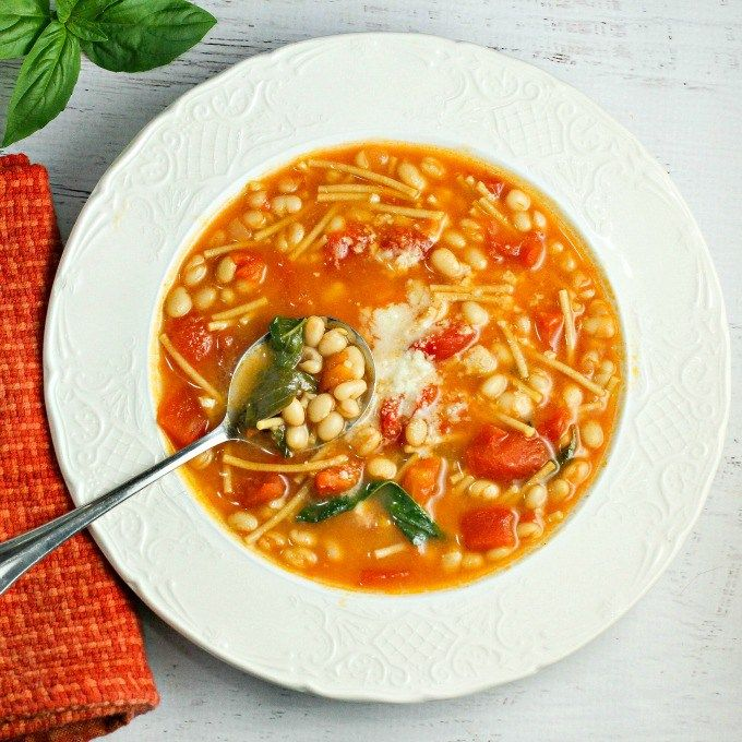 Pasta e Fagioli, a traditional Italian soup, is a comforting dish any time of year. Easy to make, healthy, and delicious, this Italian bean soup recipe makes for a flavor filled bowl every time! And it's a great source of protein and fiber as well!