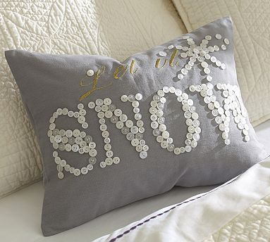 Let it Snow Embroidered Boudoir Pillow Cover #potterybarn