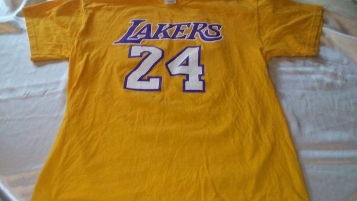 Los Angeles Lakers #24 Kobe Bryant t-shirt men's large cotton gold #gildan #GraphicTee