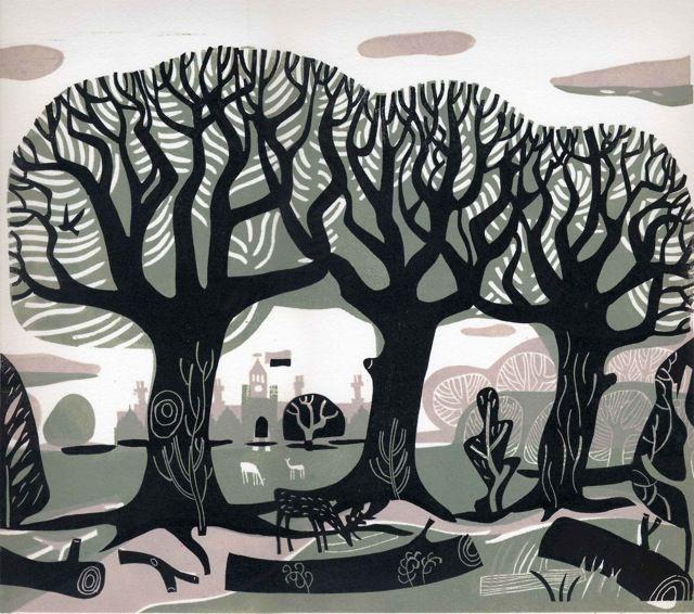 Linocut by Melvyn Evans