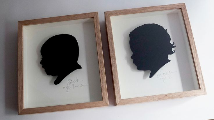 Jack and Olivia. 3mm laser cut black acrylic silhouettes. Cream mount. Hand written name/age in pencil. Custom frame in oak. Size - 25mm high x 230mm wide x 50mm deep.