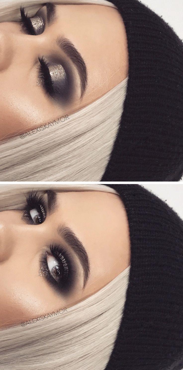 black and silver smokey eye ✨
