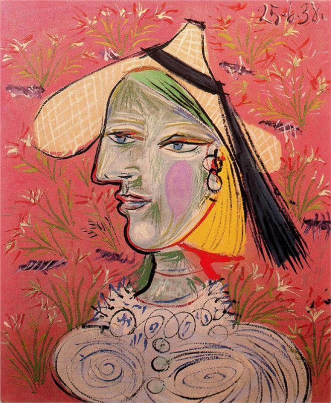 Woman with straw hat on flowery background, 1938 Pablo Picasso