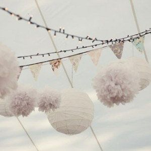 Mixed White Lantern PomPoms (24 piece set) Flower Wedding Party Baby Girl Room Nursery Decoration on Etsy, $36.99