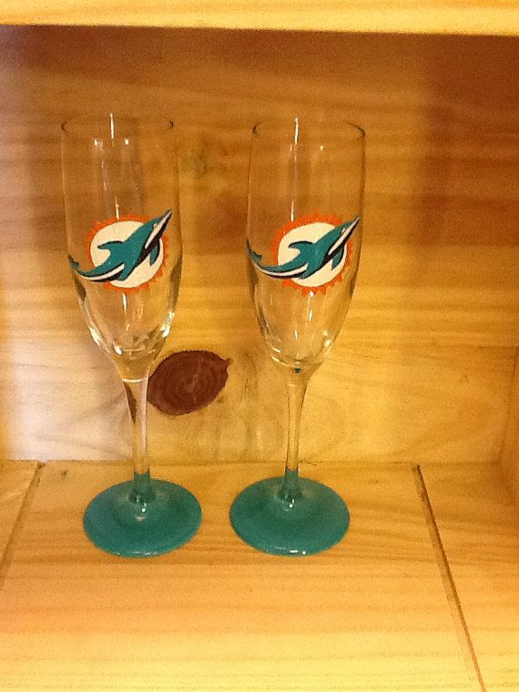 Hand Painted Miami Dolphins Champagne Flute on Etsy, $24.95