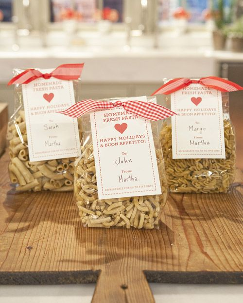 Fresh pasta, whether given as a hostess gift or placed under the tree for family and friends, can be a wonderful present for anyone on your list. Simply fill a treat box or cellophane bag with dried homemade pasta, tie with a decorative ribbon, attach a gift card, and voila! A homemade holiday gift no one will be able to resist.