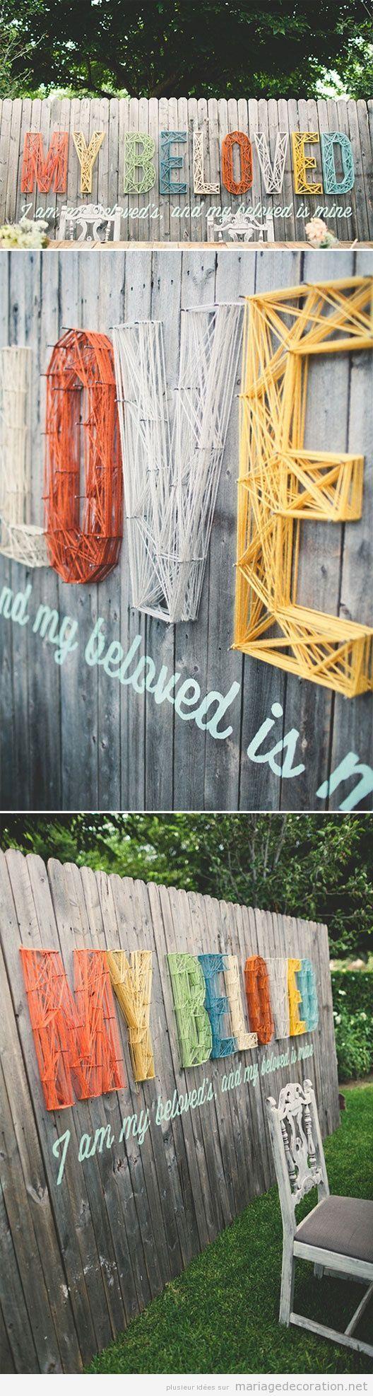 Idée DIY pour décorer un mariage pas cher, String Art