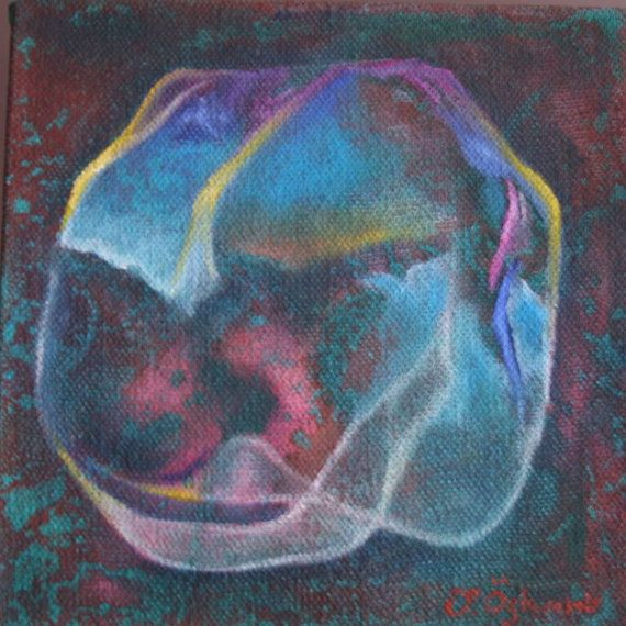 6x6 inches oil painting on canvas, bubble baloon