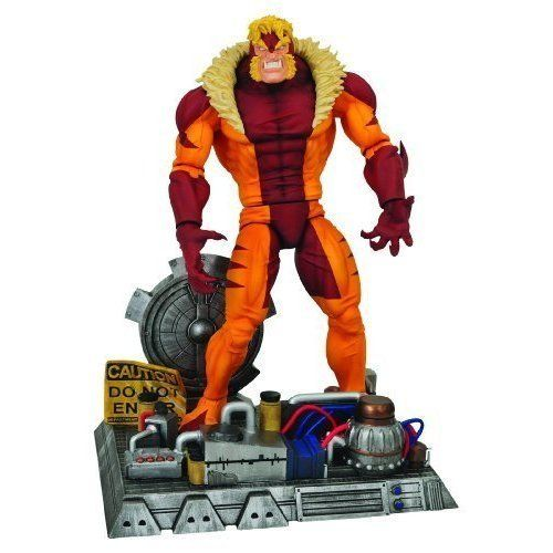 """Marvel Select: Sabretooth Action Figure by Diamond Comic Distributors. $25.95. Figure has 14 points of articulation. Sabretooth is a key player in Wolverine's comic adventures and the X-Men Origins: Wolverine film. Sabretooth is one of Marvel Comics' most famous villains. Stands 6"""" tall on base. Figure features a detailed facial sculpt, produced by Gentle Giant. From the Manufacturer                A Diamond Select Release!  Presenting a new take on a classic vill..."""