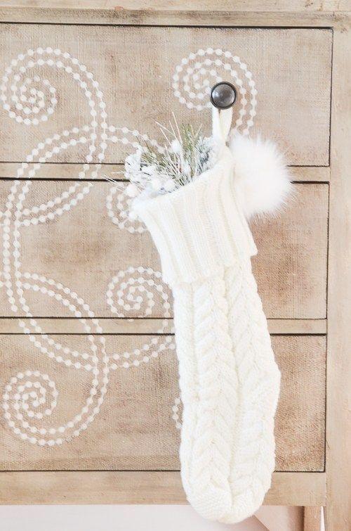 White Knit Stocking