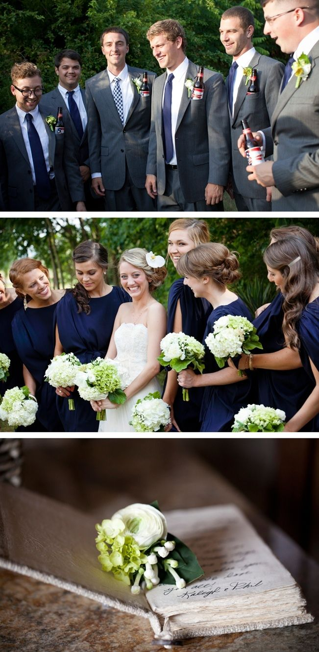 Navy + Green Stone Chapel Wedding...love the navy dresses and gray suits